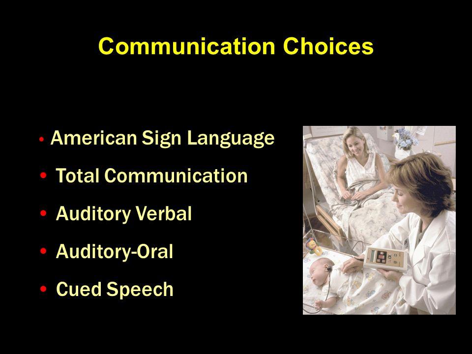 Communication Choices American Sign Language Total Communication Auditory Verbal Auditory-Oral Cued Speech