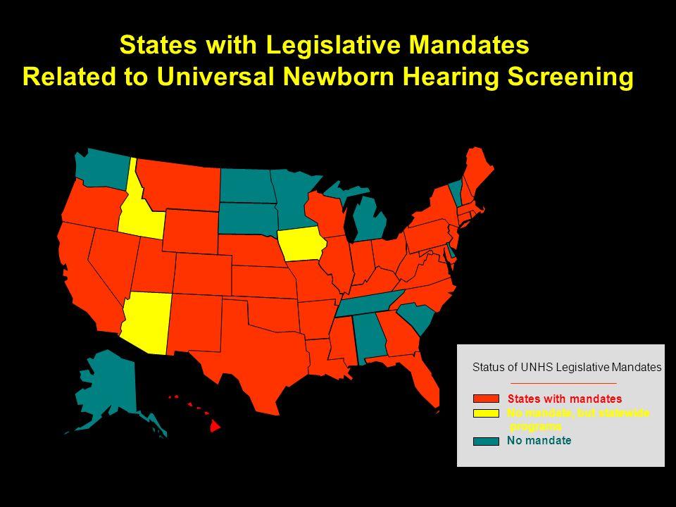 States with Legislative Mandates Related to Universal Newborn Hearing Screening Status of UNHS Legislative Mandates States with mandates No mandate No