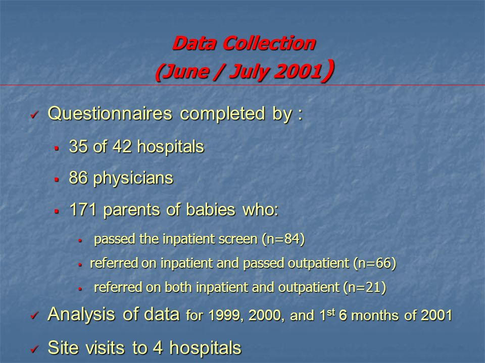 Data Collection (June / July 2001 ) Questionnaires completed by : Questionnaires completed by : 35 of 42 hospitals 35 of 42 hospitals 86 physicians 86