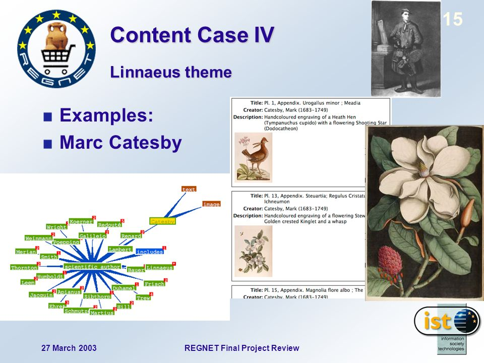 27 March 2003REGNET Final Project Review 15 Examples: Marc Catesby Linnaeus theme Content Case IV