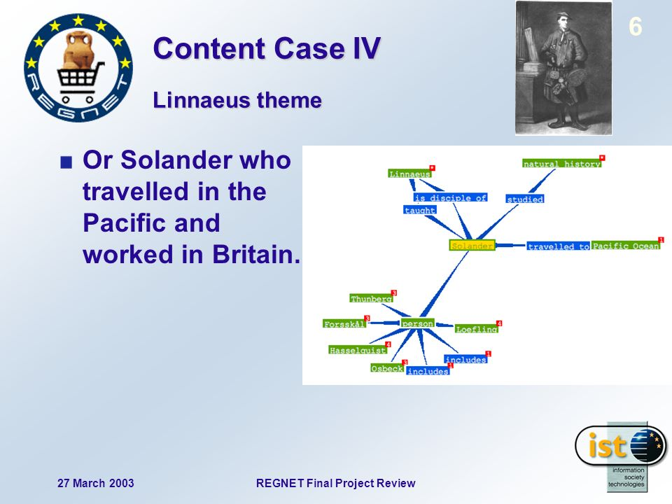 27 March 2003REGNET Final Project Review 7 Or Solander who travelled in the Pacific and worked in Britain.