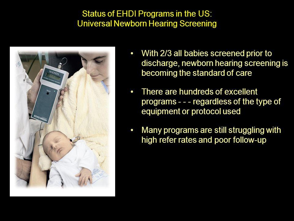 Status of EHDI Programs in the US: Universal Newborn Hearing Screening With 2/3 all babies screened prior to discharge, newborn hearing screening is b