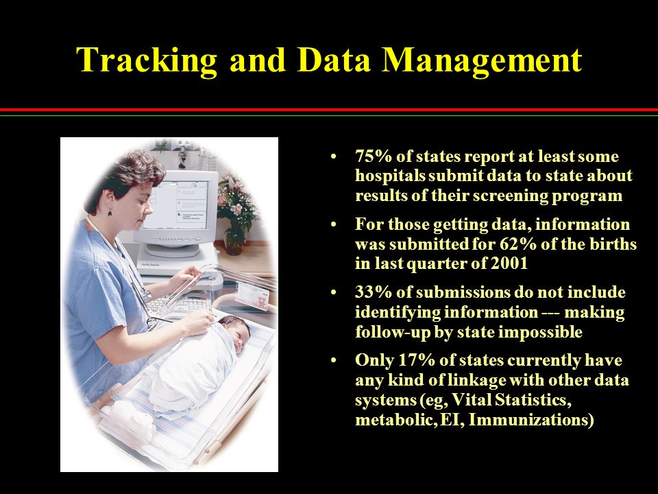 Tracking and Data Management 75% of states report at least some hospitals submit data to state about results of their screening program For those gett
