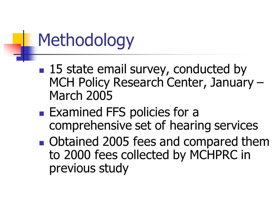 Policy Implications To arrive at more consistent payment policies, states may want to adopt fees that are some proportion of Medicare fees Low Medicaid payment levels are likely to adversely affect access to audiology services and also participation of audiologists
