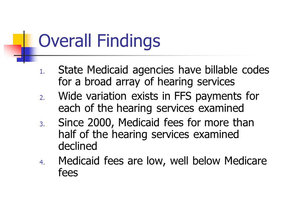 Overall Findings 1. State Medicaid agencies have billable codes for a broad array of hearing services 2. Wide variation exists in FFS payments for eac