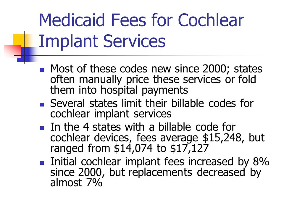 Medicaid Fees for Assistive Communication Services 3 of 15 states have reimbursable codes for adaptive hearing devices State covering this service have manual pricing policies