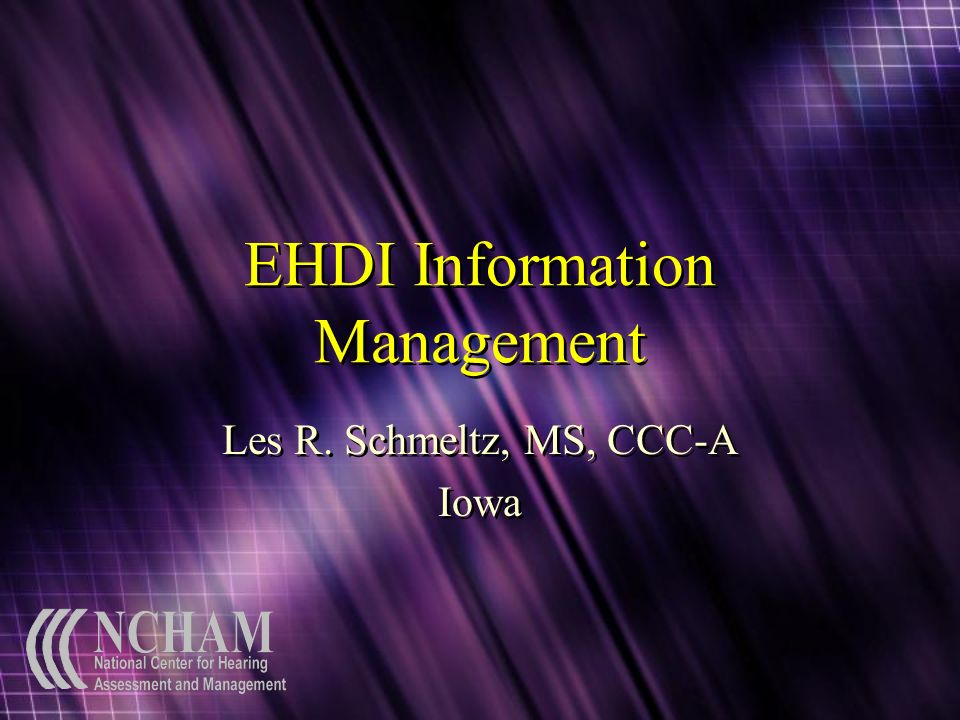 EHDI Information Management Les R. Schmeltz, MS, CCC-A Iowa Les R. Schmeltz, MS, CCC-A Iowa