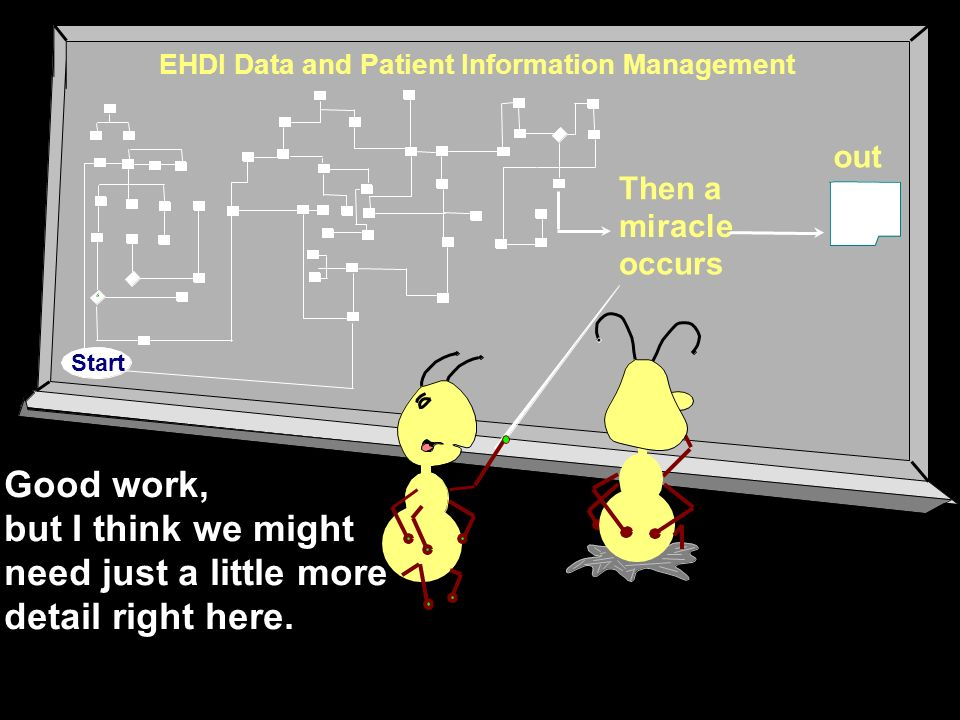 Good work, but I think we might need just a little more detail right here. EHDI Data and Patient Information Management Then a miracle occurs out Star