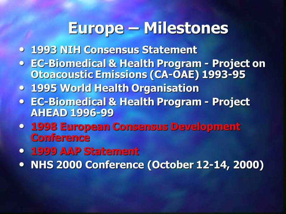 Europe – Milestones 1993 NIH Consensus Statement 1993 NIH Consensus Statement EC-Biomedical & Health Program - Project on Otoacoustic Emissions (CA-OA