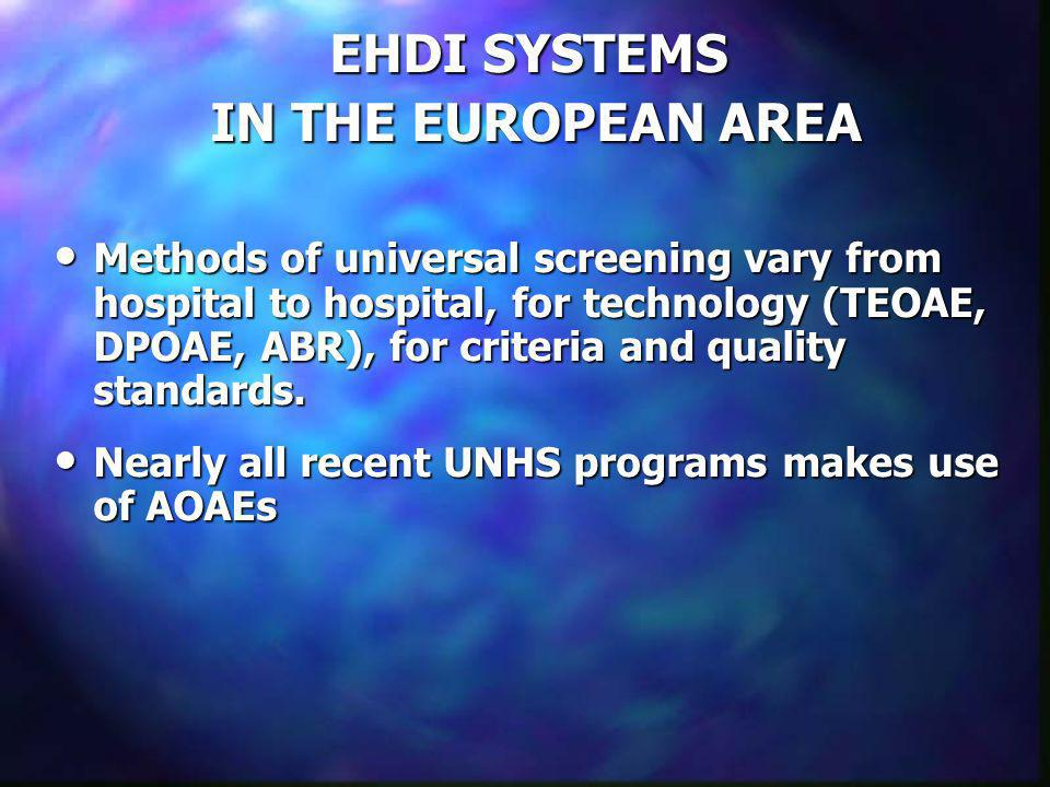 EHDI SYSTEMS IN THE EUROPEAN AREA England The National Screening Committee Trial 20 Sites, or Health Districts, incorporating 30+ hospitals The conception was a rather long lasting process, but a national EHDI system is under way now