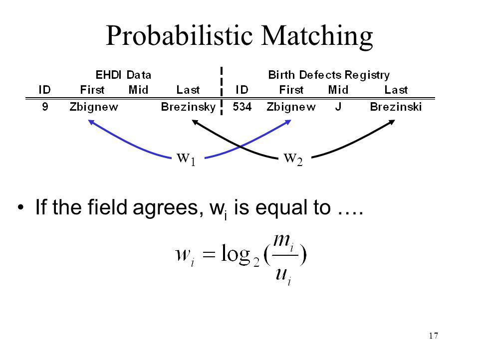 17 Probabilistic Matching If the field agrees, w i is equal to …. w1w1 w2w2