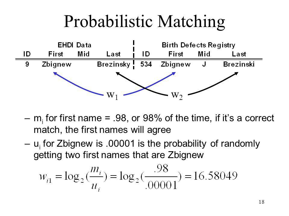 18 Probabilistic Matching –m i for first name =.98, or 98% of the time, if its a correct match, the first names will agree –u i for Zbignew is is the probability of randomly getting two first names that are Zbignew w1w1 w2w2