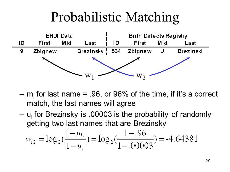 20 Probabilistic Matching –m i for last name =.96, or 96% of the time, if its a correct match, the last names will agree –u i for Brezinsky is is the probability of randomly getting two last names that are Brezinsky w1w1 w2w2