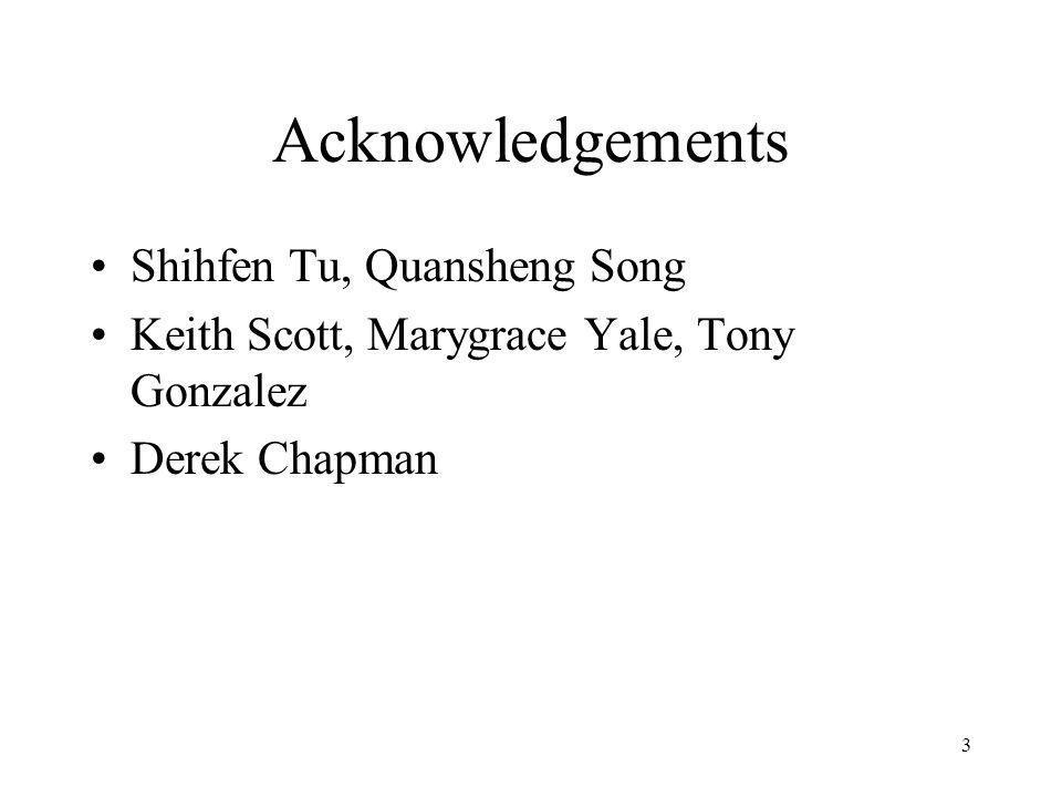 3 Acknowledgements Shihfen Tu, Quansheng Song Keith Scott, Marygrace Yale, Tony Gonzalez Derek Chapman
