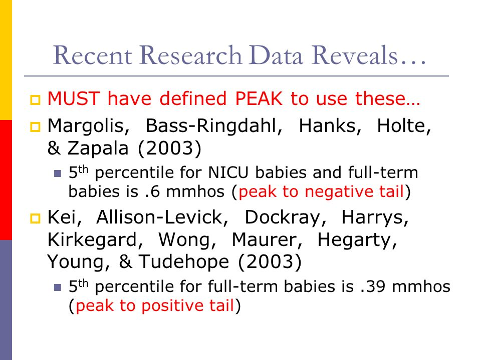Recent Research Data Reveals… MUST have defined PEAK to use these… Margolis, Bass-Ringdahl, Hanks, Holte, & Zapala (2003) 5 th percentile for NICU bab