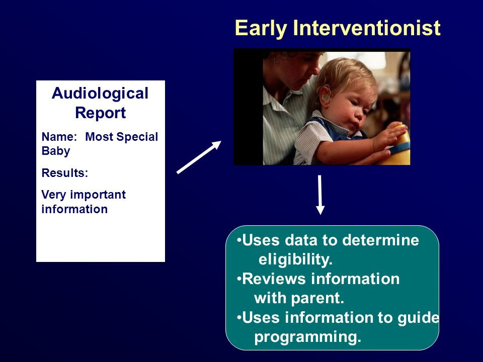 Audiological Report Name: Most Special Baby Results: Very important information Uses data to determine eligibility. Reviews information with parent. U