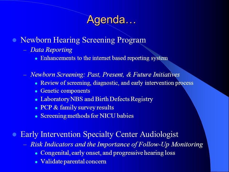 Agenda… Newborn Hearing Screening Program – Data Reporting Enhancements to the internet based reporting system – Newborn Screening: Past, Present, & F