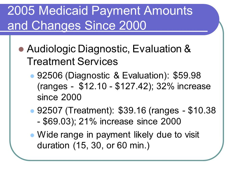 2005 Medicaid Payment Amounts and Changes Since 2000 Audiologic Diagnostic, Evaluation & Treatment Services 92506 (Diagnostic & Evaluation): $59.98 (ranges - $12.10 - $127.42); 32% increase since 2000 92507 (Treatment): $39.16 (ranges - $10.38 - $69.03); 21% increase since 2000 Wide range in payment likely due to visit duration (15, 30, or 60 min.)
