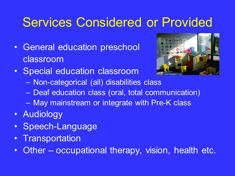Services Considered or Provided General education preschool classroom Special education classroom –Non-categorical (all) disabilities class –Deaf educ