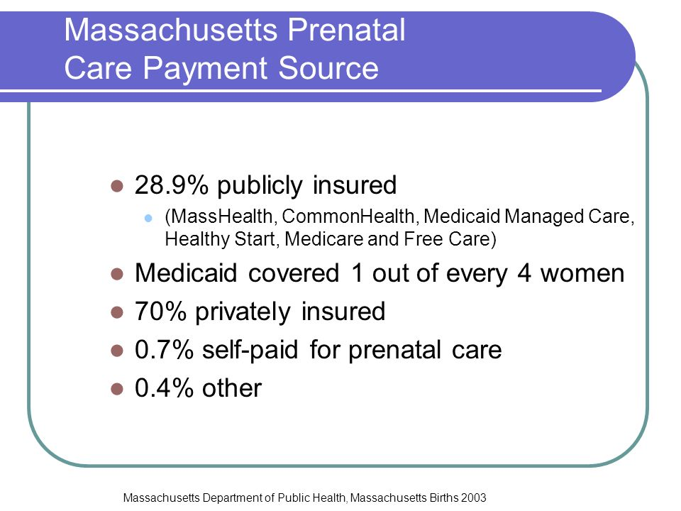 Massachusetts Prenatal Care Payment Source 28.9% publicly insured (MassHealth, CommonHealth, Medicaid Managed Care, Healthy Start, Medicare and Free Care) Medicaid covered 1 out of every 4 women 70% privately insured 0.7% self-paid for prenatal care 0.4% other Massachusetts Department of Public Health, Massachusetts Births 2003