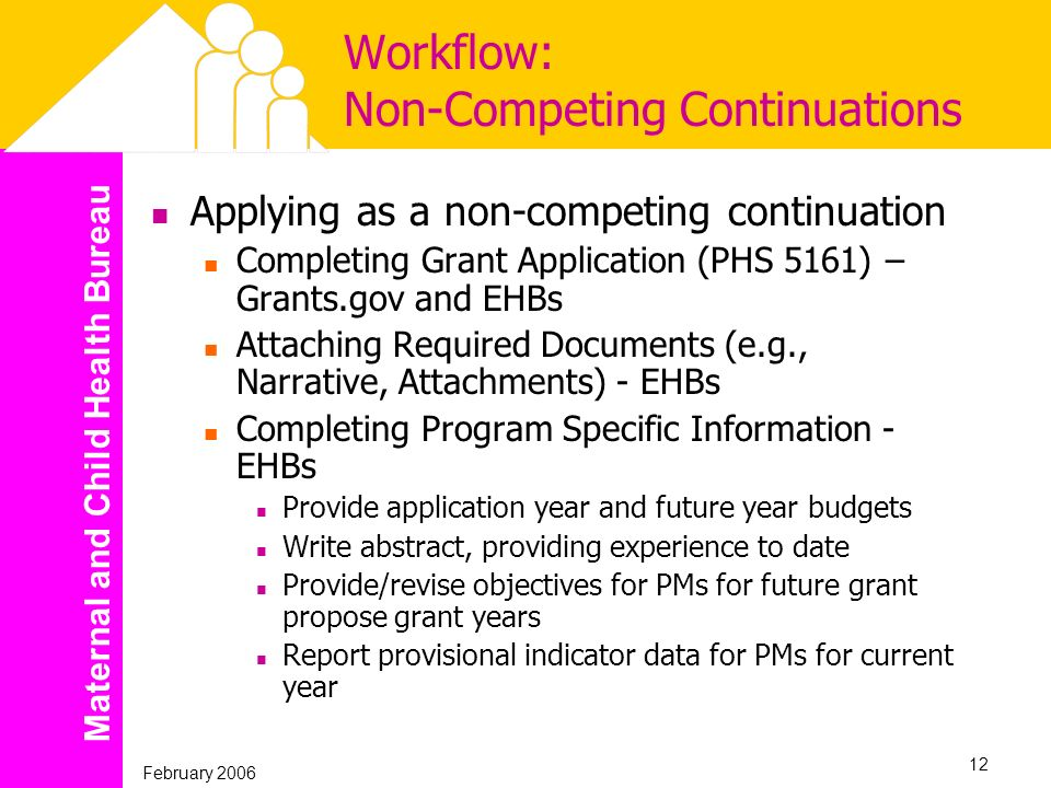 Maternal and Child Health Bureau February 2006 12 Workflow: Non-Competing Continuations Applying as a non-competing continuation Completing Grant Appl