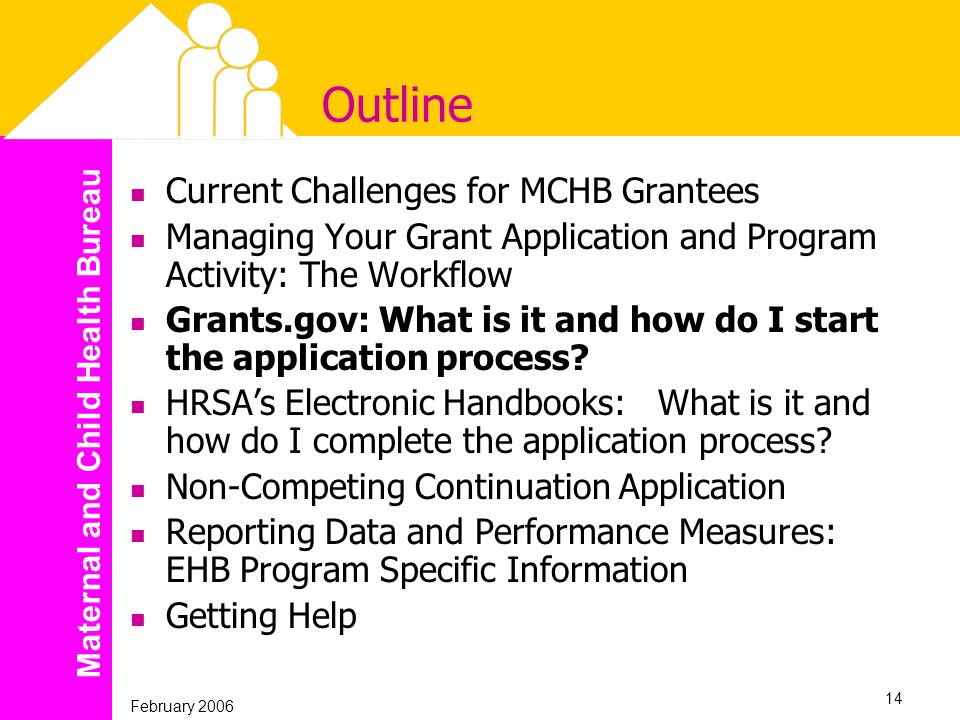 Maternal and Child Health Bureau February 2006 14 Outline Current Challenges for MCHB Grantees Managing Your Grant Application and Program Activity: T