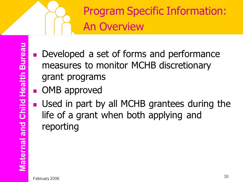 Maternal and Child Health Bureau February 2006 30 Program Specific Information: An Overview Developed a set of forms and performance measures to monit