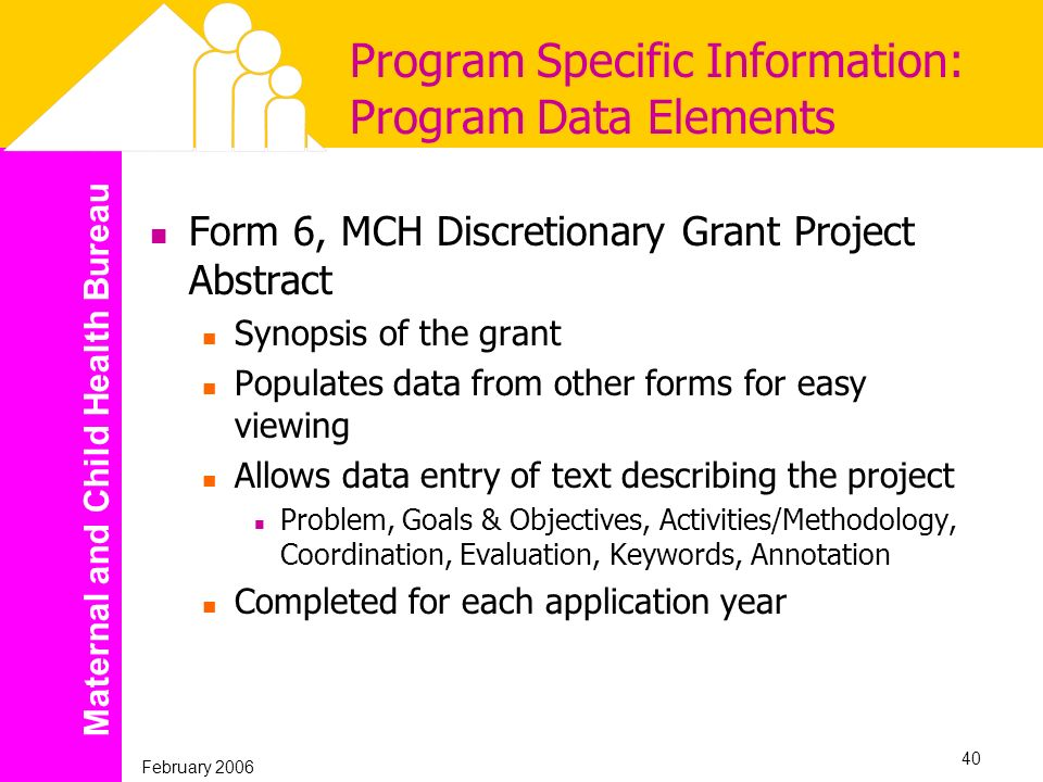 Maternal and Child Health Bureau February 2006 40 Program Specific Information: Program Data Elements Form 6, MCH Discretionary Grant Project Abstract