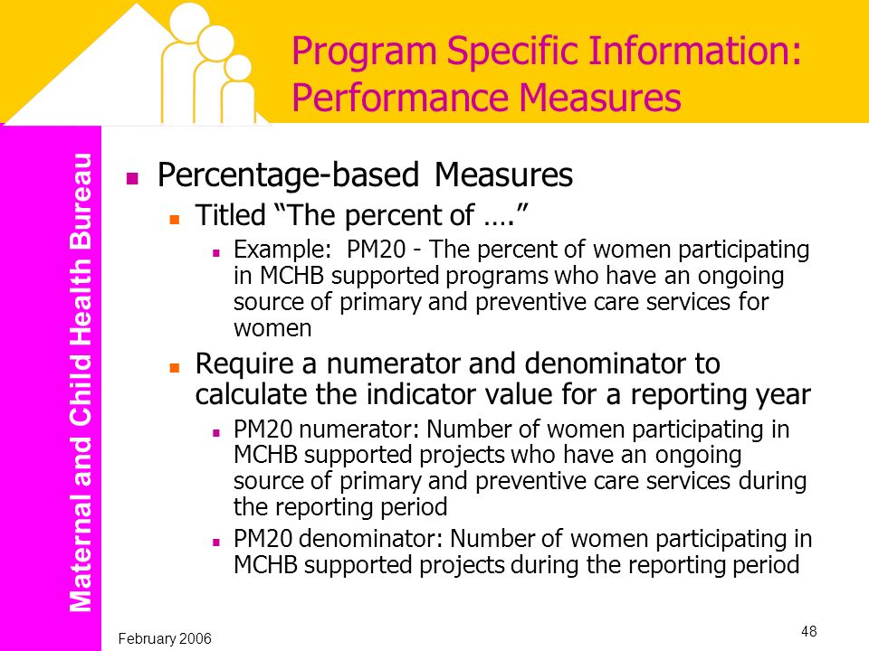 Maternal and Child Health Bureau February 2006 48 Program Specific Information: Performance Measures Percentage-based Measures Titled The percent of …