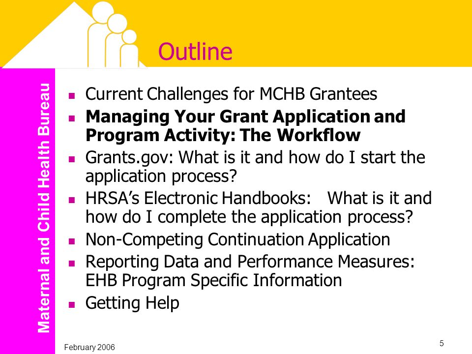 Maternal and Child Health Bureau February 2006 5 Outline Current Challenges for MCHB Grantees Managing Your Grant Application and Program Activity: Th