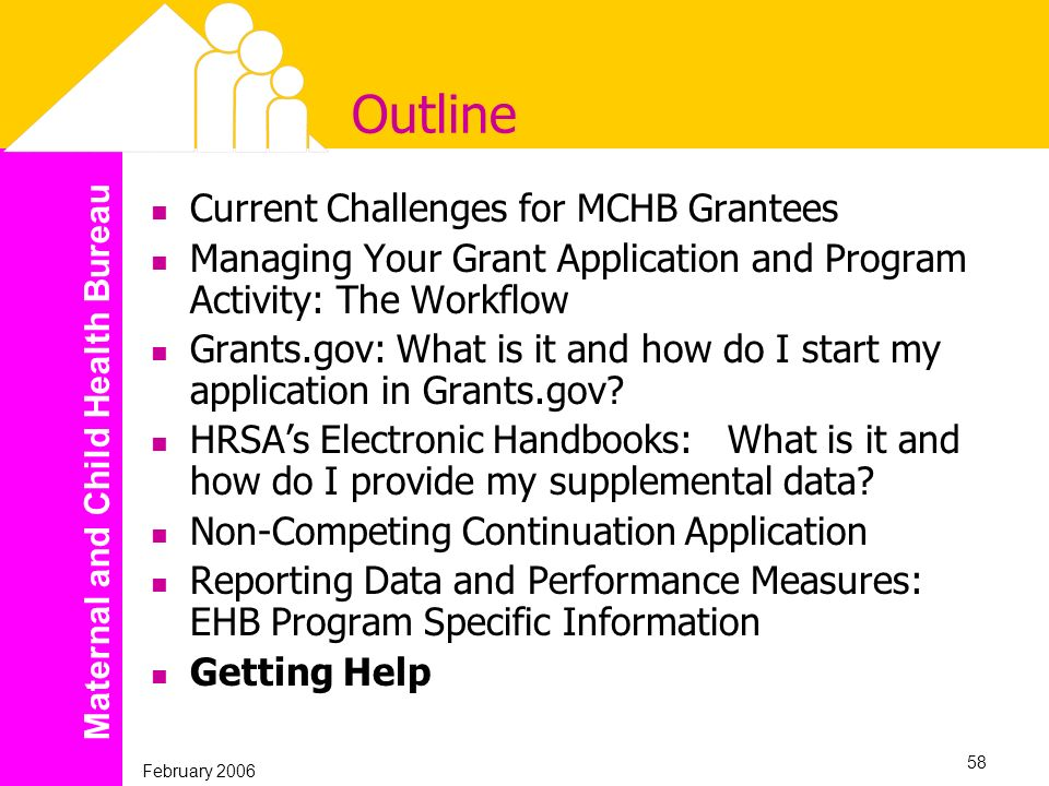 Maternal and Child Health Bureau February 2006 58 Outline Current Challenges for MCHB Grantees Managing Your Grant Application and Program Activity: T