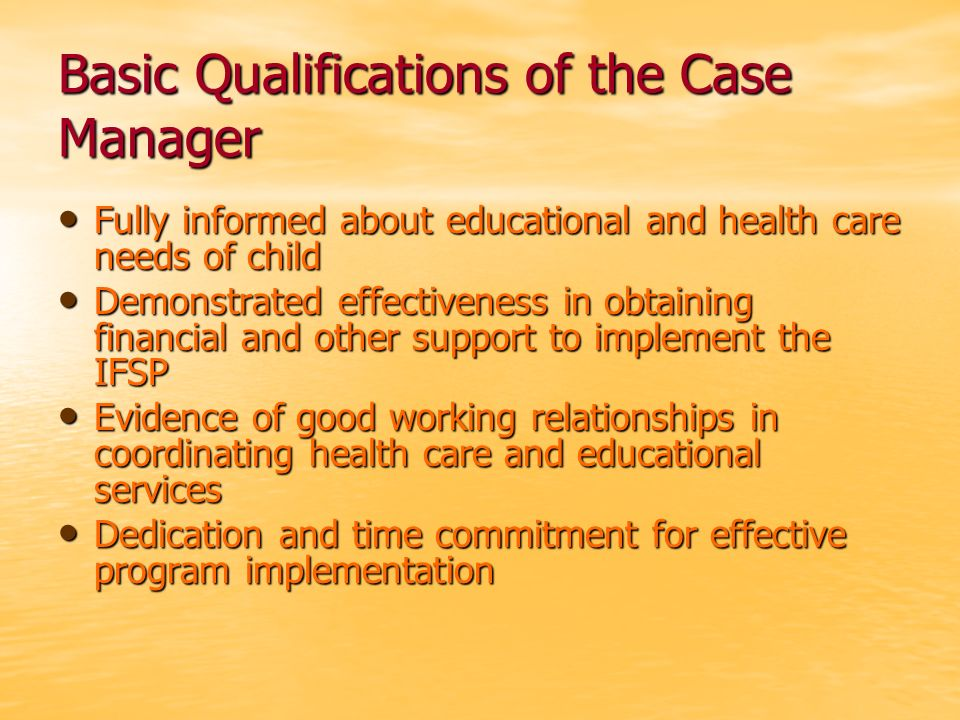 Basic Qualifications of the Case Manager Fully informed about educational and health care needs of child Fully informed about educational and health c