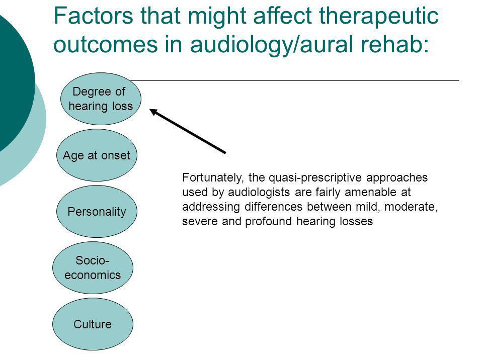 Factors that might affect therapeutic outcomes in audiology/aural rehab: Culture Fortunately, the quasi-prescriptive approaches used by audiologists a