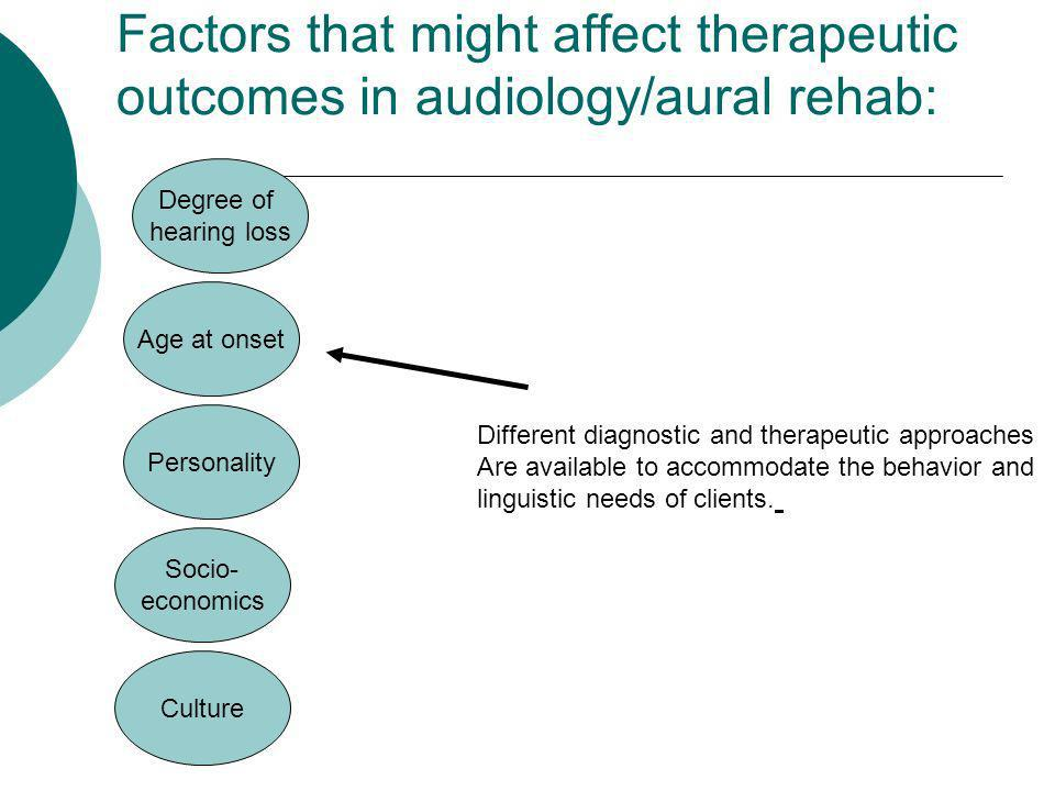 Factors that might affect therapeutic outcomes in audiology/aural rehab: Culture Different diagnostic and therapeutic approaches Are available to acco