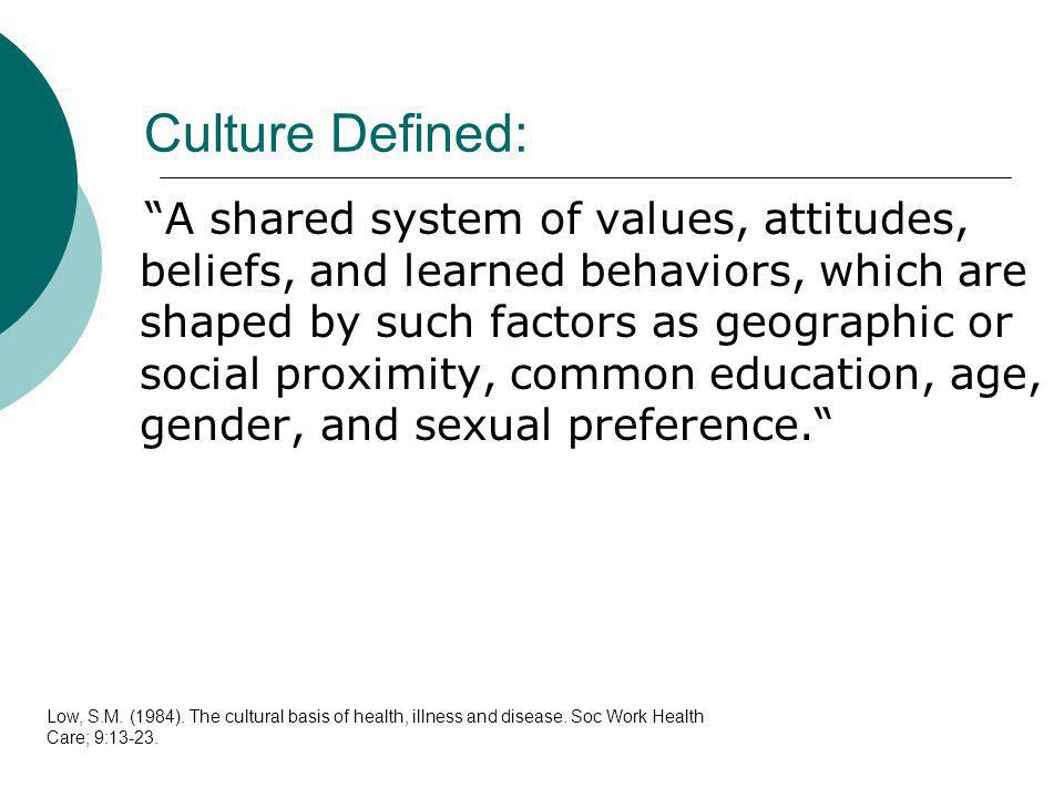 Culture Defined: A shared system of values, attitudes, beliefs, and learned behaviors, which are shaped by such factors as geographic or social proxim