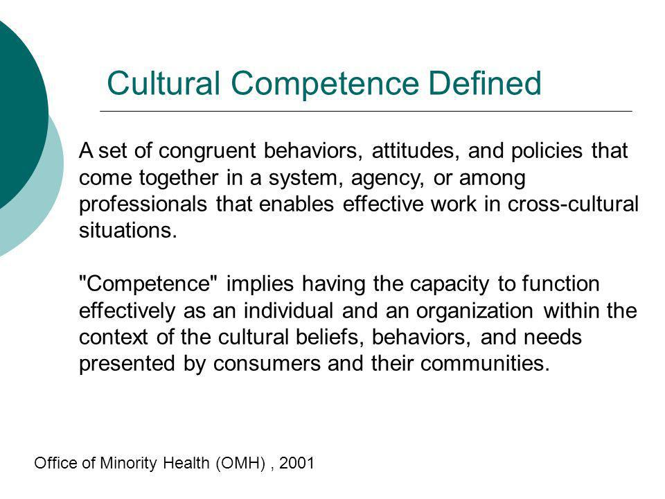 Cultural Competence Defined A set of congruent behaviors, attitudes, and policies that come together in a system, agency, or among professionals that