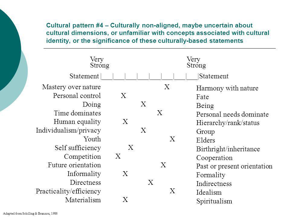 Cultural pattern #4 – Culturally non-aligned, maybe uncertain about cultural dimensions, or unfamiliar with concepts associated with cultural identity