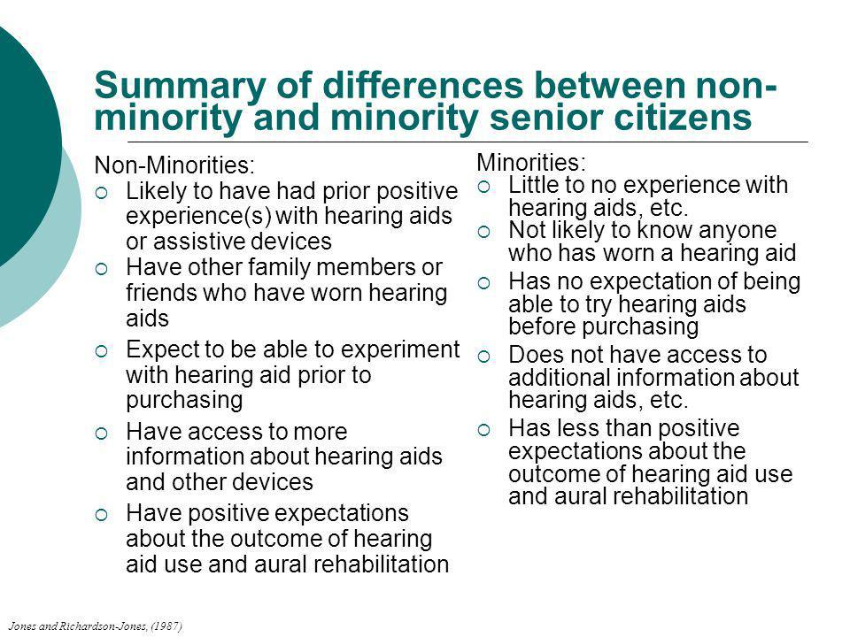 Summary of differences between non- minority and minority senior citizens Non-Minorities: Likely to have had prior positive experience(s) with hearing