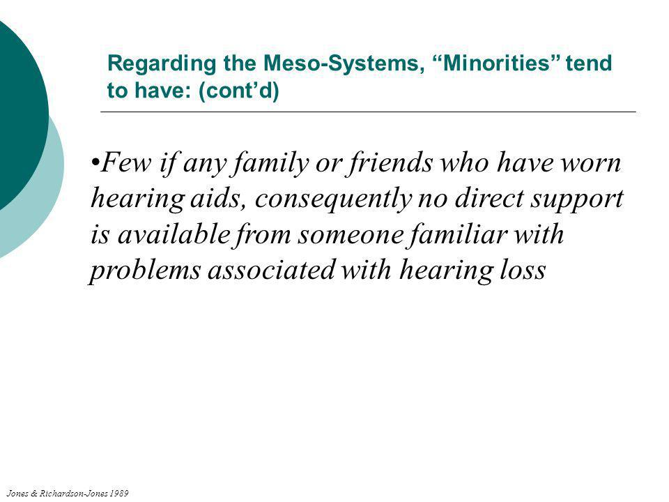 Regarding the Meso-Systems, Minorities tend to have: (contd) Few if any family or friends who have worn hearing aids, consequently no direct support i
