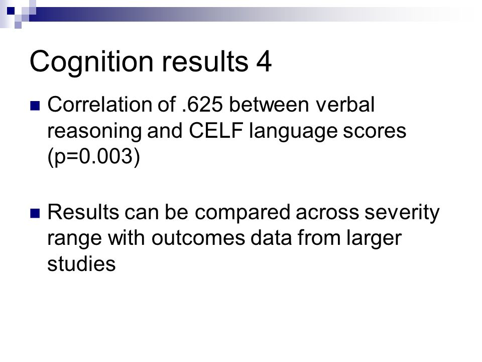 Cognition results
