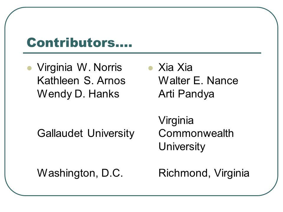 Contributors….Virginia W. Norris Kathleen S. Arnos Wendy D.