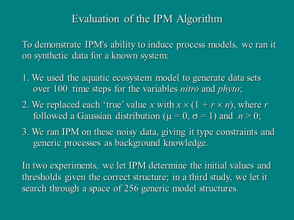 Evaluation of the IPM Algorithm 1.
