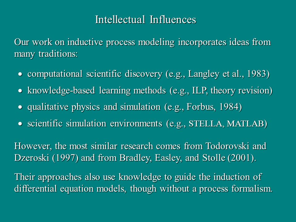 computational scientific discovery (e.g., Langley et al., 1983) computational scientific discovery (e.g., Langley et al., 1983) knowledge-based learning methods (e.g., ILP, theory revision) knowledge-based learning methods (e.g., ILP, theory revision) qualitative physics and simulation (e.g., Forbus, 1984) qualitative physics and simulation (e.g., Forbus, 1984) scientific simulation environments (e.g., STELLA, MATLAB ) scientific simulation environments (e.g., STELLA, MATLAB ) Intellectual Influences Our work on inductive process modeling incorporates ideas from many traditions: However, the most similar research comes from Todorovski and Dzeroski (1997) and from Bradley, Easley, and Stolle (2001).