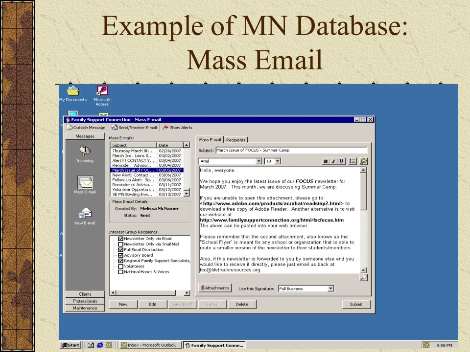 Example of MN Database: Mass Email