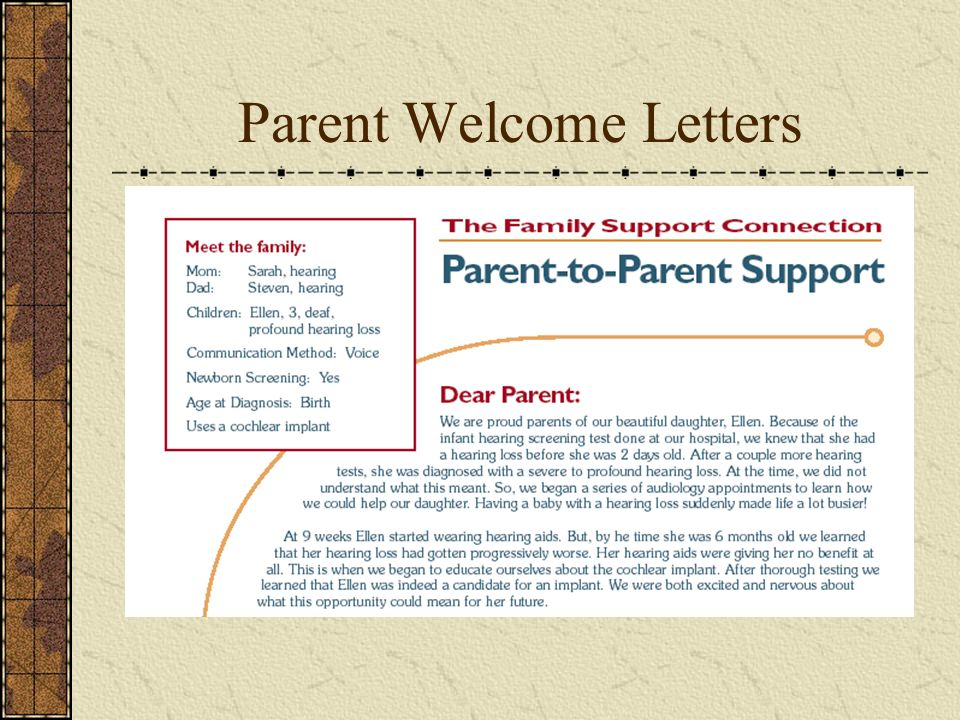 Parent Welcome Letters