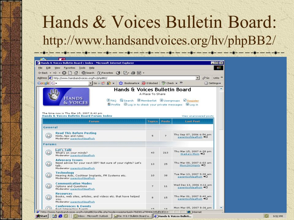 Hands & Voices Bulletin Board:
