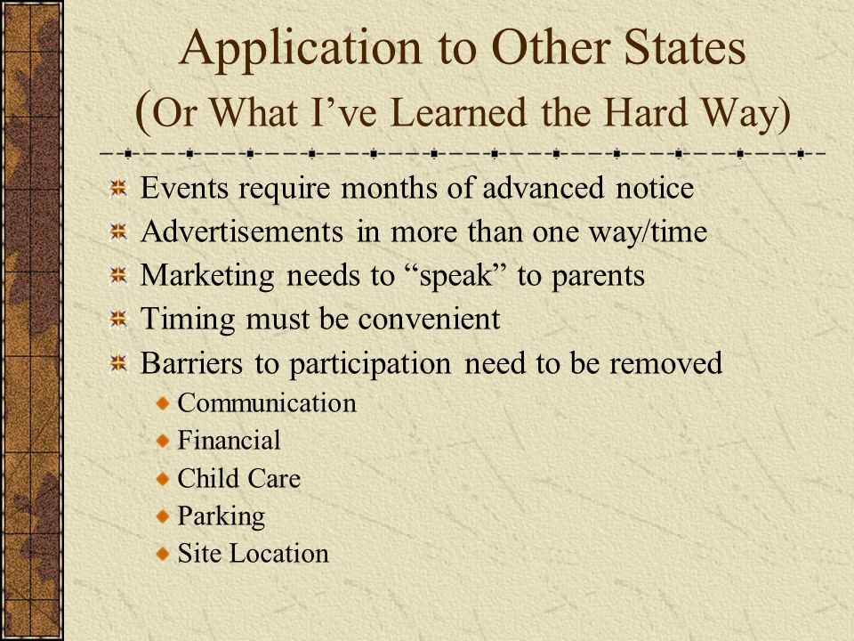 Application to Other States ( Or What Ive Learned the Hard Way) Events require months of advanced notice Advertisements in more than one way/time Mark