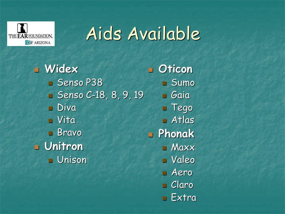 Aids Available Widex Widex Senso P38 Senso P38 Senso C-18, 8, 9, 19 Senso C-18, 8, 9, 19 Diva Diva Vita Vita Bravo Bravo Unitron Unitron Unison Unison Oticon Oticon Sumo Gaia Tego Atlas Phonak Phonak Maxx Valeo Aero Claro Extra