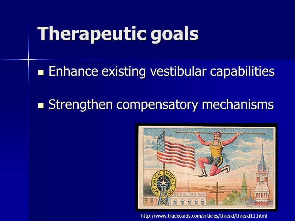 Therapeutic goals Enhance existing vestibular capabilities Enhance existing vestibular capabilities Strengthen compensatory mechanisms Strengthen comp