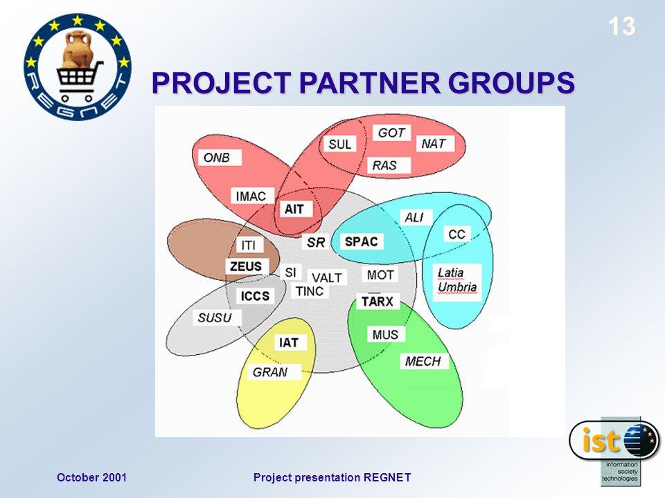 October 2001Project presentation REGNET 13 PROJECT PARTNER GROUPS
